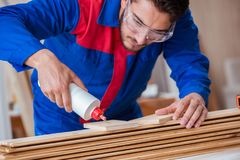 The yooung repairman carpenter working with paint painting. Yooung repairman carpenter working with paint painting Royalty Free Stock Image