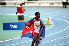 Yordan L.O'Farrill von Kuba feiert das Gewinnen Stockbild
