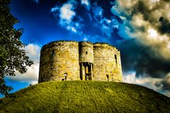 York Castle mound, ominous clouds. And dark skies Royalty Free Stock Image