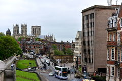 York City. Old and new buildings, streets, cars, colors, city walls York history, exploring the beautiful view of the castle Royalty Free Stock Images