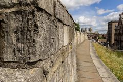 York city walls. The walkway on the York city walls stock images