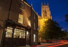 York domkyrka på skymning Arkivbilder