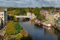 York, England. Aerial view of river Ouse passing through York city in England Stock Images