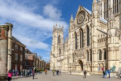 York Minster, the historic cathedral built in gothic architectural style and landmark of the City of York in England, UK. York, England - April 2018: York royalty free stock photo