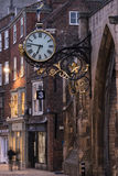 York, England Street and Clock Royalty Free Stock Photography