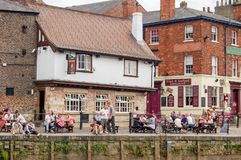 People at East Riverside Waterfront River Ouse York royalty free stock photography