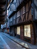 The Shambles, historic street of butcher shops dating back to medieval times. Now one of York`s main tourist attractions. York, England, UK. The Shambles royalty free stock image
