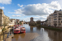 York England view from Lendal bridge of River Ouse and pleasure boats historic Yorkshire city. York England view from Lendal bridge of River Ouse and pleasure Stock Image