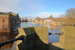 YORK, ENGLAND: View of the river Ouse from the Skeldergate Bridge Stock Photos