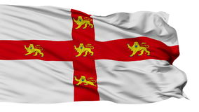 Isolated York city flag, UK. York flag, city of UK, realistic animation isolated on white seamless loop - 10 seconds long alpha channel is included stock footage