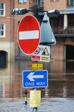 York Floods. Flooded traffic sign on bank of River Ouse in York Stock Photo