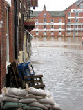 York floods. Flooded street in York, North Yorkshire, UK Royalty Free Stock Photo