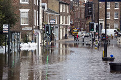 York Floods - Sept.2012 - UK. The River Ouse floods the streets of central York in the United Kingdom.  September 2012 Royalty Free Stock Image