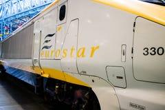 York, het Verenigd Koninkrijk - 02/08/2018: Een oude modeleurostar-trein i stock afbeelding