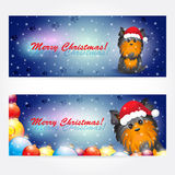 York_сhristmas. Background with christmas yorkshire terrier . Set of banners. Easy to edit. Perfect for invitations or announcements vector illustration
