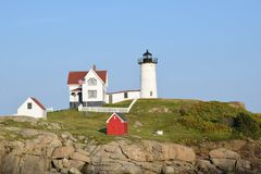 York Lighthouse in York, Maine, USA. Beautiful York lighthouse in Maine, USA. One of America`s most iconic lighthouse`s stock image