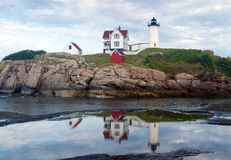 York, Maine - Nubble Light reflecting in a puddle Royalty Free Stock Photo