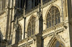 York Minster. Exterior view of York Minster from south, including buttresses and windows Royalty Free Stock Image