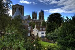 York Minster. In England between trees stock image