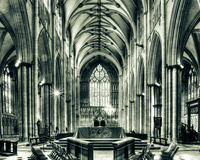 York Minster Altar with West Window HDR split toning Stock Images