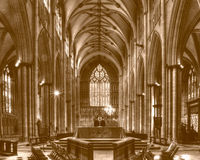 York Minster Altar with West Window sepia tone Royalty Free Stock Image