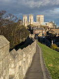 York Minster and City Wall Stock Photo
