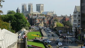 York Minster - City of York - England. York Minster and Lendal Bridge in the city of York in the county of Yorkshire in northeast England. Viewed from the Roman stock footage