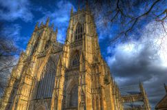 York Minster England historic cathedral and tourist attraction in colourful hdr. York Minster rear view from the City Walls of the historic cathedral and UK Royalty Free Stock Image