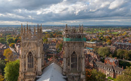 York Minster, England. View from above with the panorama of York Royalty Free Stock Photo