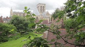 York Minster seen from the city wall, Yorkshire, England, UK, HD footage. York Minster seen from the city wall, Yorkshire, England, UK stock video footage