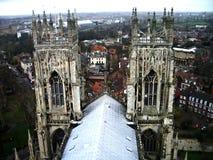 York Minster. The two towers of York Minster, York, England stock photo