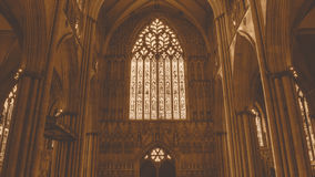 York Minster West Window Heart Of York low angle HDR sepia tone Stock Image