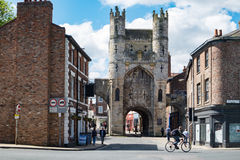 York Monk Bar. York city walls near Monk Bar Gate. The medieval city walls are popular for visitors to walk around, giving interesting views of the old city Royalty Free Stock Photography