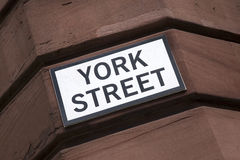 York Street Sign on Brick Wall Royalty Free Stock Image