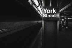 York street subway station black and white photo, New York stock images