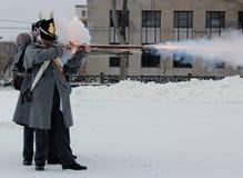 York Sudbury Museum Firing Demo. Misfire during York Sudbury Museum firing demonstration in Fredericton, New Brunswick Royalty Free Stock Images
