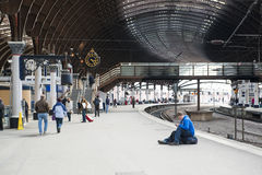 YORK, UK - MARCH 31: Passengers at platform in York Railway Stat Stock Photography