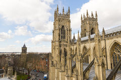 YORK, UK - MARCH 30: Roof of York Minster overlooking city. The Royalty Free Stock Photo