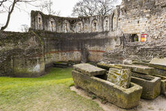 YORK, UK - MARCH 30: Ruins of the Multangular Tower, the last su Royalty Free Stock Photography