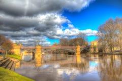 York UK River Ouse view towards Skeldergate Bridge Royalty Free Stock Photos