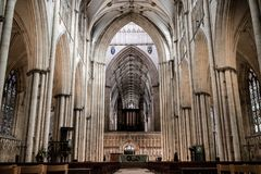 York, United Kingdom - 02/08/2018: Inside York Minster. York, United Kingdom - 02/08/2018: The large open area in York Minster that leads up to the pipe organ Stock Images