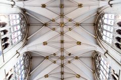 York, United Kingdom - 02/08/2018: Inside York Minster. York, United Kingdom - 02/08/2018: The patterned ceiling of York Minster royalty free stock image