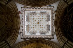 York, United Kingdom - 02/08/2018: Inside York Minster. York, United Kingdom - 02/08/2018: The patterns and sculpture on the ceiling of the tallest tower royalty free stock image