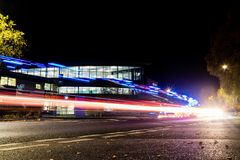 York, United Kingdom - 11/18/2017: York St. John`s Fountains Lea. Rning Centre and library taken at night with light trails from the traffic stock image