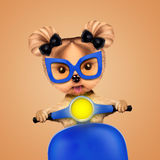 yorkie的可爱的女孩坐摩托车 库存例证