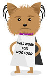 Small dog will work for food sign Stock Photography