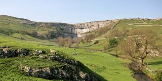 Yorkshire Dales, Malham Cove. Malham Cove in The Yorkshire Dales National Park Royalty Free Stock Photos