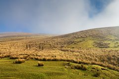 Yorkshire Dales scenery with fog in the distance. Stock Photo