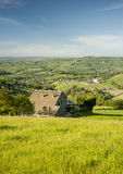 Yorkshire dales summer scene. Overlooking a green Yorkshire Dales valley on a bright summers morning Stock Image