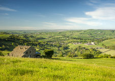 Yorkshire dales summer scene. Overlooking a green Yorkshire Dales valley on a bright summers morning Royalty Free Stock Photo